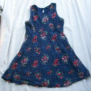 My Michelle Floral Print on Navy Lace Lined Dress